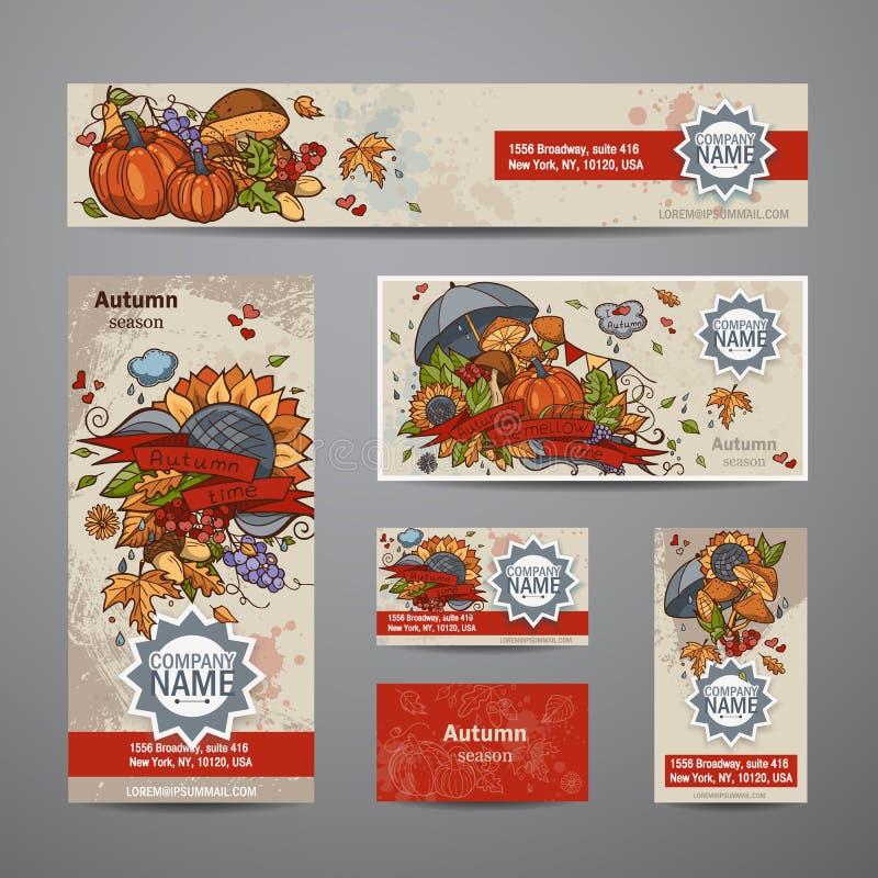Wektorowy ustawiający jesieni ulotki, karty, sztandary ilustracji