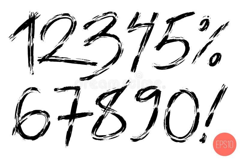 Wektorowy ustawiający kaligraficzna ręka pisać liczbie Projekt?w elementy, szczotkarski literowanie ilustracji