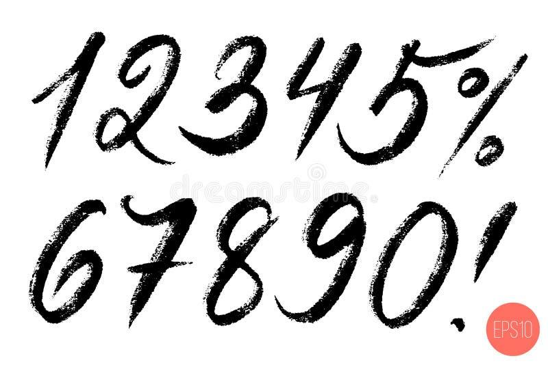 Wektorowy ustawiający kaligraficzna ręka pisać liczbie Projekt?w elementy, szczotkarski literowanie royalty ilustracja
