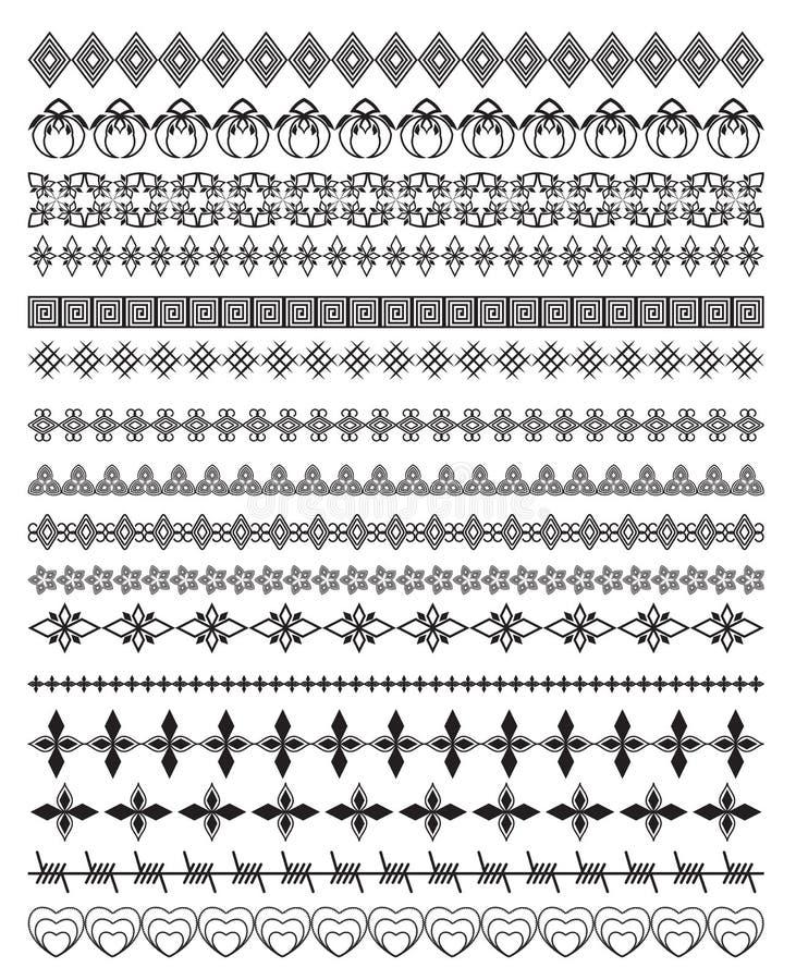 Wektorowy Ustawiający Kaligraficzny projekt Graniczy elementy ilustracji