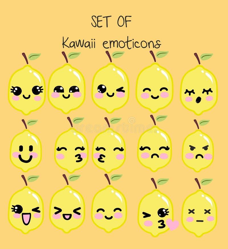 Wektorowy ustawiający kawaii emoticons, śliczna cytryna z twarzami z różnymi emocjami ilustracja wektor