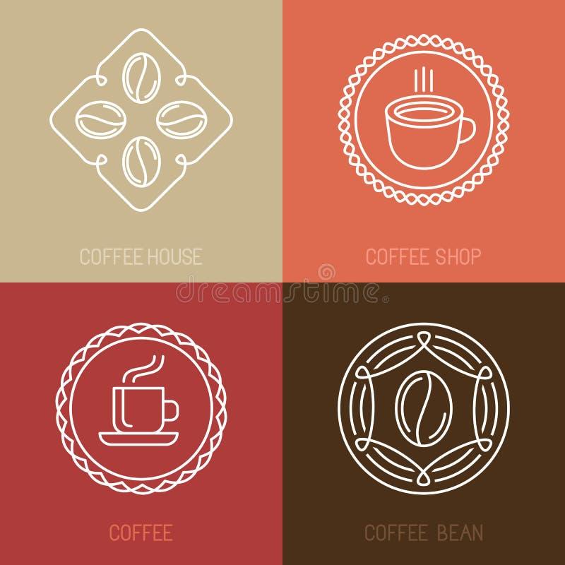 Wektorowy ustawiający kawowi logowie i ikony ilustracja wektor
