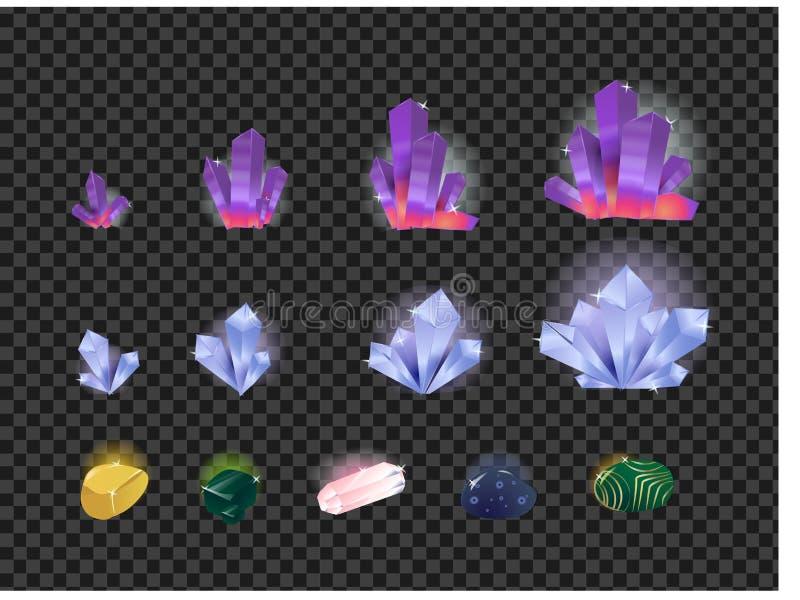 Wektorowy ustawiający klejnoty, gemstone, kryształy odizolowywający na przejrzystym tle Kryształ ewolucja od małego ampuła ilustracja wektor