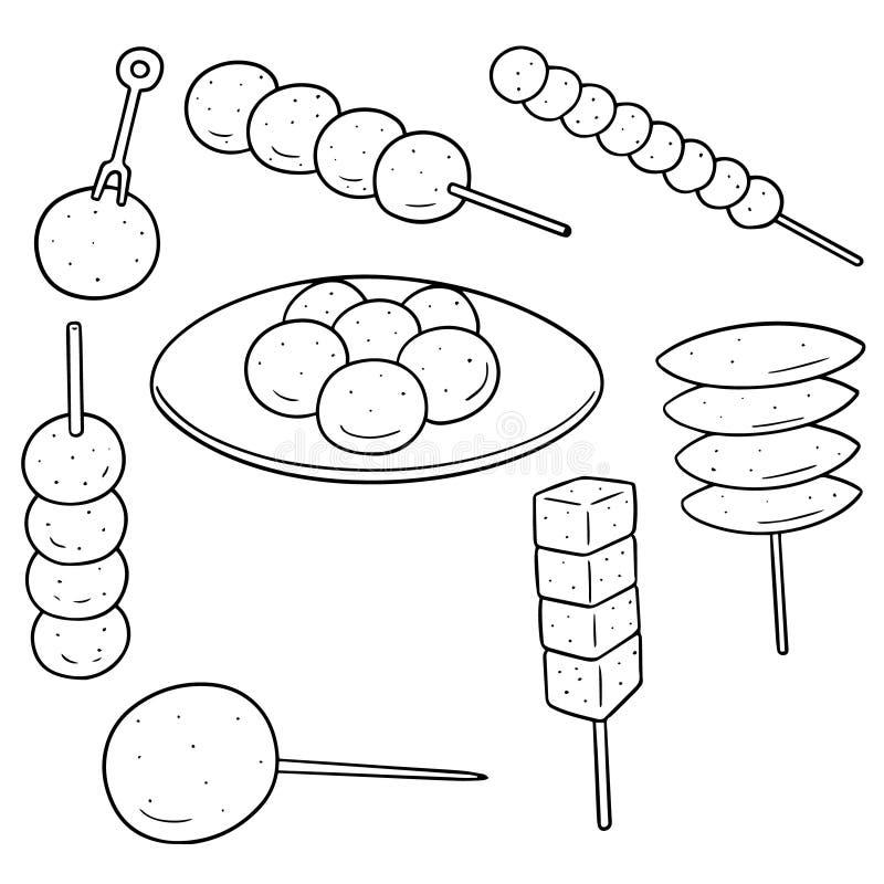Wektorowy ustawiający klopsik, rybia piłka, wieprzowiny piłka i krewetkowa piłka, royalty ilustracja