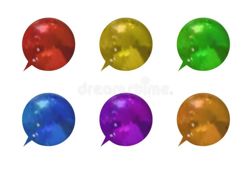 Wektorowy Ustawiający Kolorowa Kruszcowa Textured 3D rozmowa Gulgocze, Różne kolor mowy ramy Odizolowywać royalty ilustracja