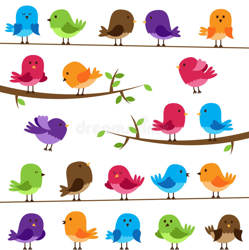 Wektorowy Ustawiający Kolorowi kreskówka ptaki ilustracja wektor
