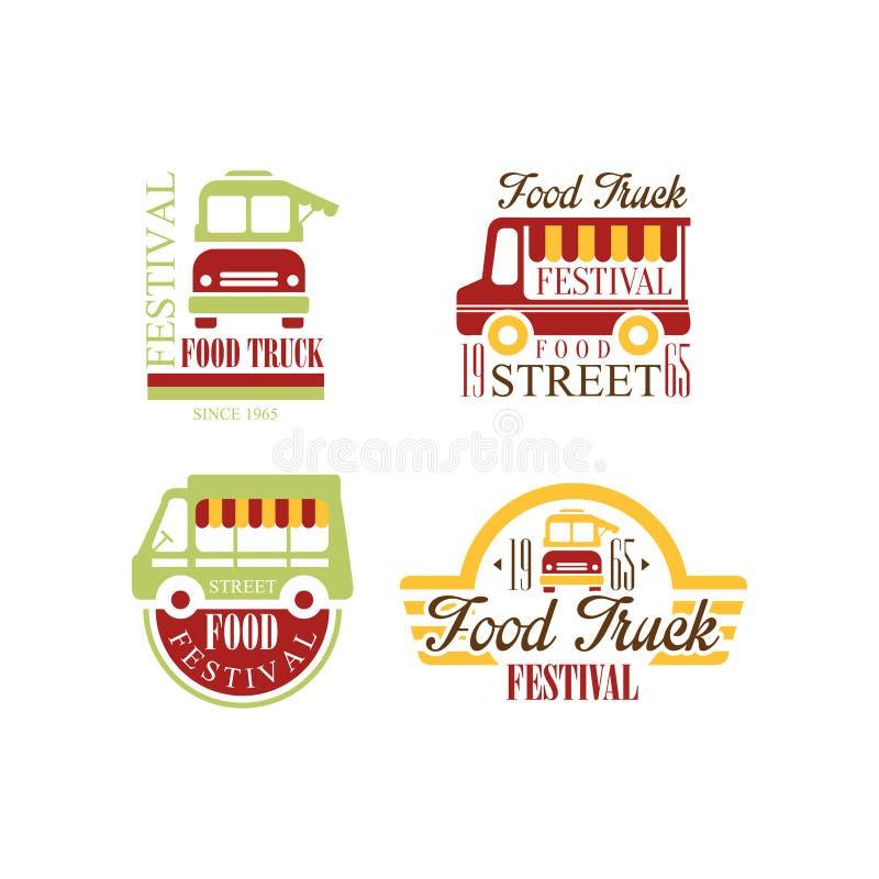 Wektorowy ustawiający kolorowi logowie dla jedzenie ciężarówki festiwalu Uliczny fast food Oryginalni emblematy z tekstem dla pro royalty ilustracja