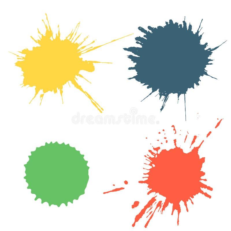 Wektorowy ustawiający kolorowy atramentu pluśnięcie, kleksy i szczotkarscy uderzenia odizolowywający na białym tle, Serie wektoro ilustracja wektor