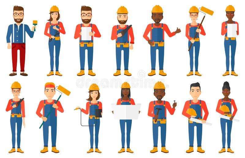 Wektorowy ustawiający konstruktory i budowniczych charaktery ilustracji