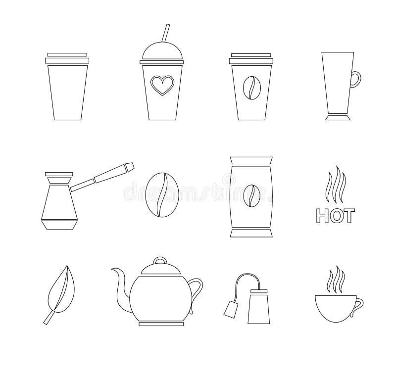 Wektorowy ustawiający kontur herbaty i kawy ikona ilustracji