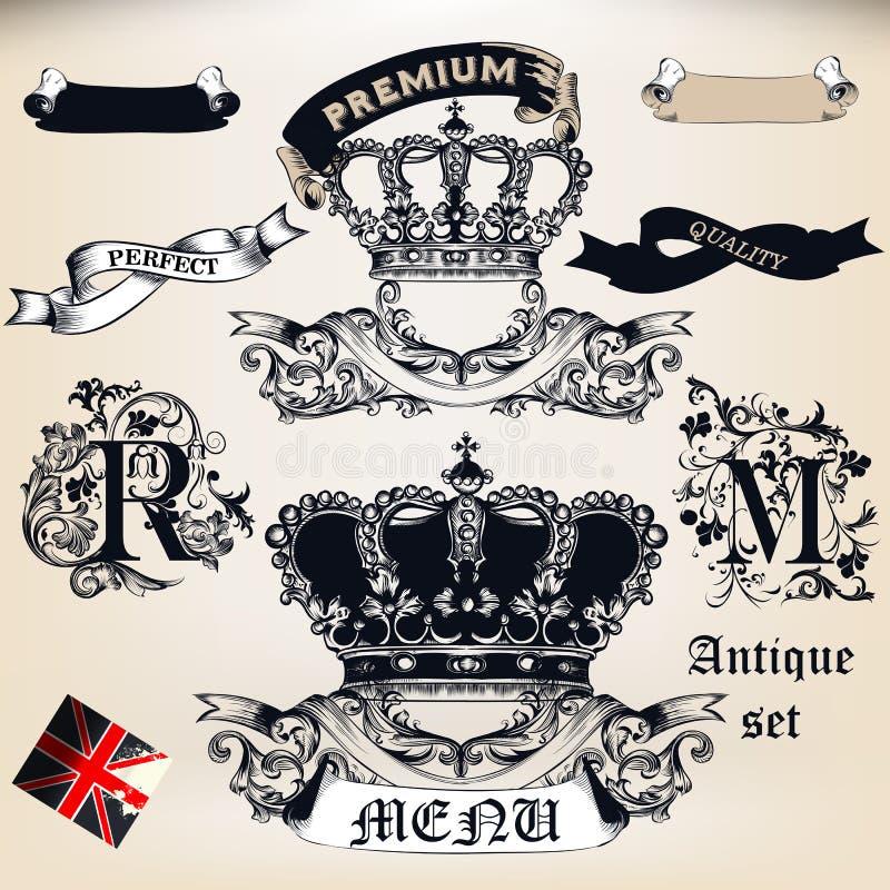 Wektorowy ustawiający korony, sztandary i odznaki w rocznika antyka stylu, royalty ilustracja