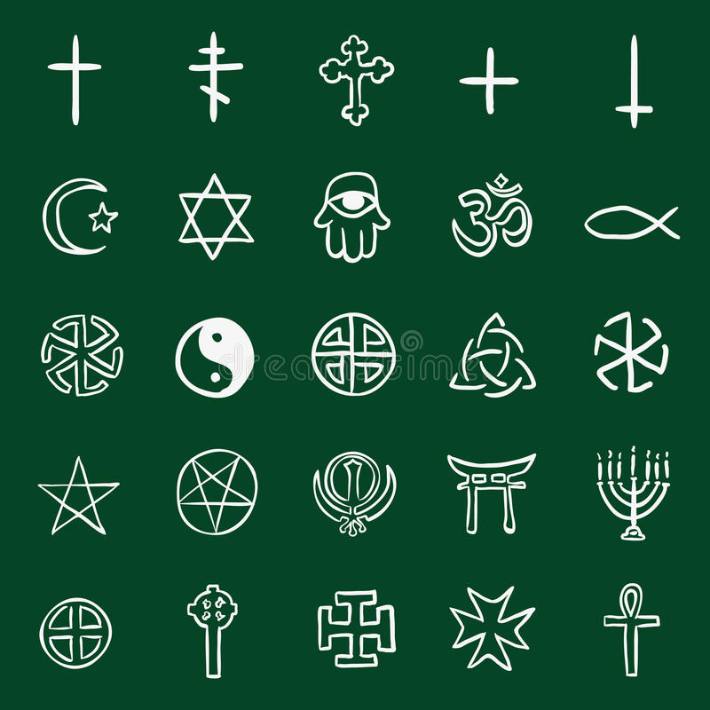 Wektorowy Ustawiający Kredowego Doodle Religijni symbole ilustracja wektor