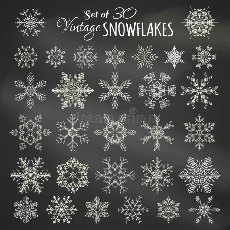 Wektorowy Ustawiający 30 Kredowych płatków śniegu ilustracja wektor