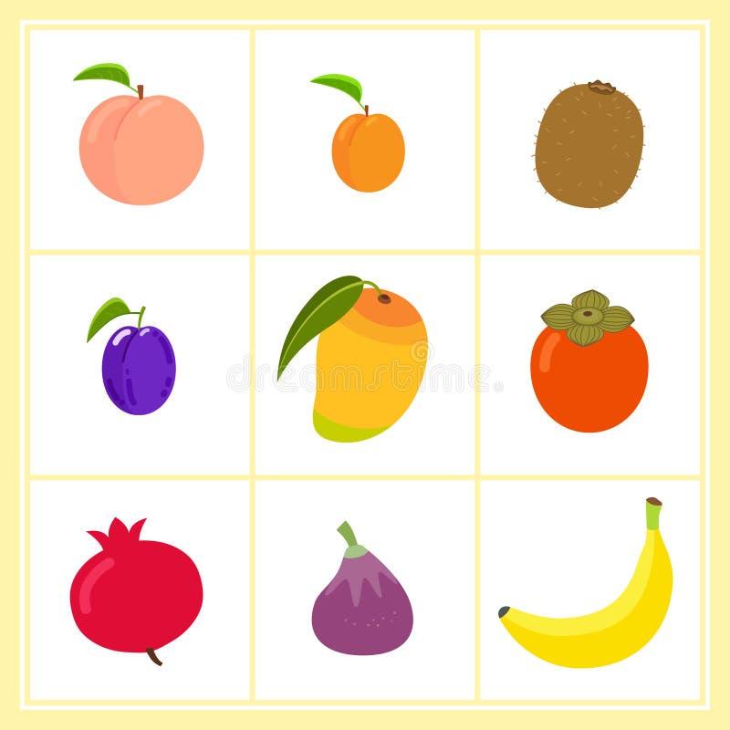 Wektorowy ustawiający kreskówek owoc odizolowywać na białym tle ilustracji