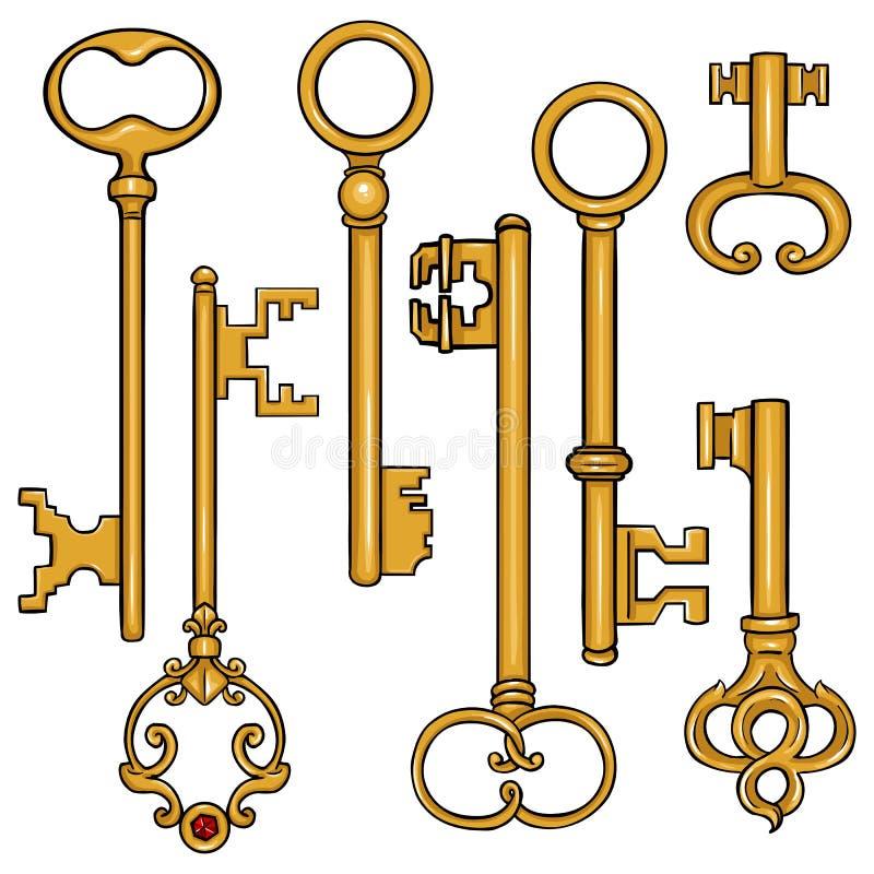 Wektorowy Ustawiający kreskówka Antykwarscy klucze ilustracji