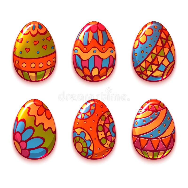 Wektorowy ustawiający kreskówka koloru jajka dla wielkanocy ilustracji