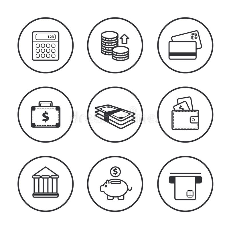 Wektorowy ustawiający kreskowe czerń finanse ikony ilustracja wektor