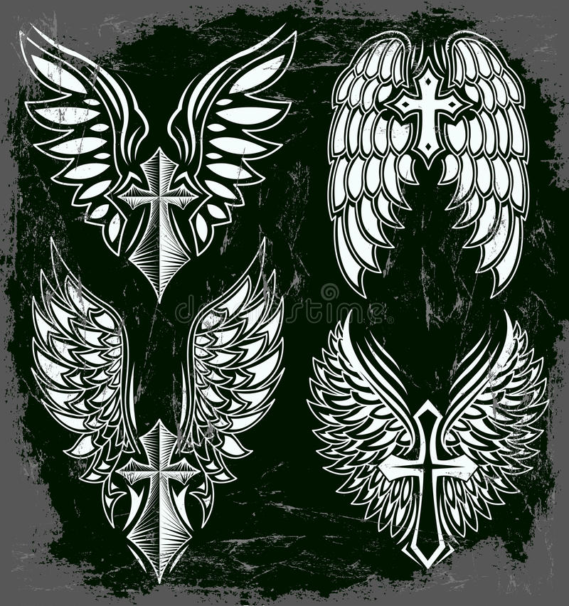 Wektorowy Ustawiający krzyż i skrzydła ilustracji