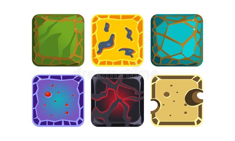 Wektorowy ustawiający kwadratowe płytki z różnymi teksturami Piasek, złoto, lawa, lodowiec Wartości dla wiszącej ozdoby lub gry k ilustracji