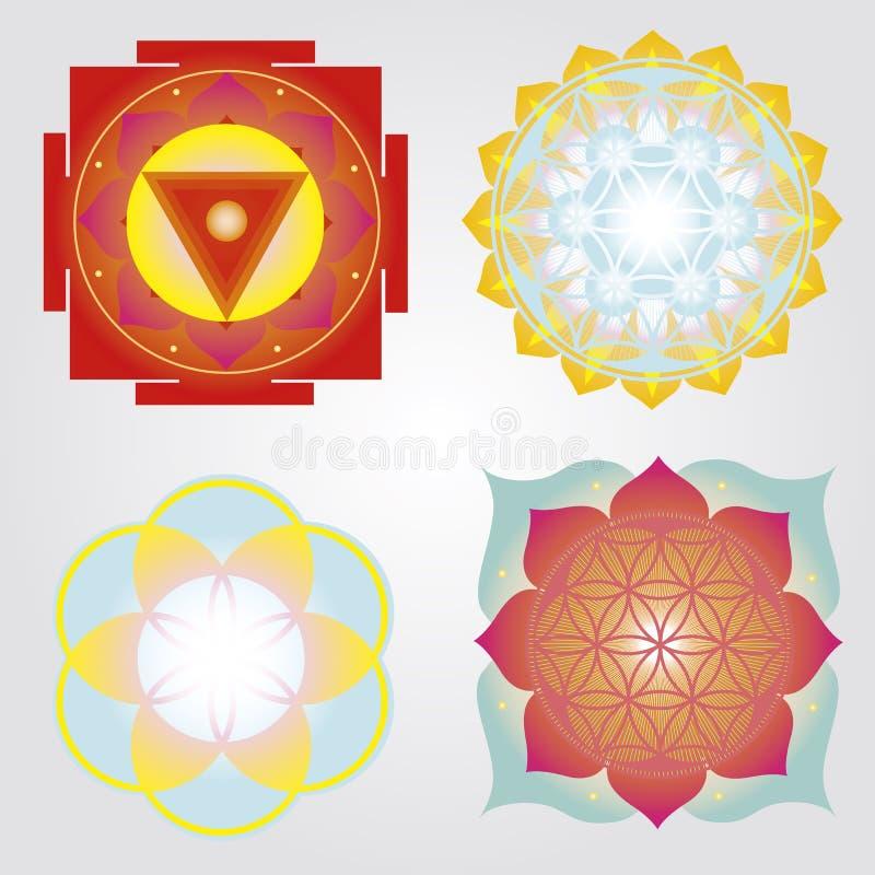 Mandalas i Yantras set zdjęcie stock