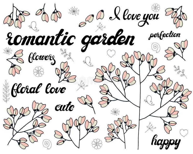 Wektorowy ustawiający kwiecista gałąź Doodle elementy z ślicznymi różowymi kwiatami Projekt dla romantycznego kartki z pozdrowien ilustracja wektor