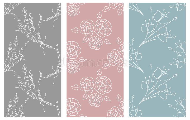 Wektorowy ustawiający kwiecista ilustracja Pastelowi bezszwowi wzory z bukietem z kwiatami, liście, dekoracyjni elementy Ręka rys royalty ilustracja