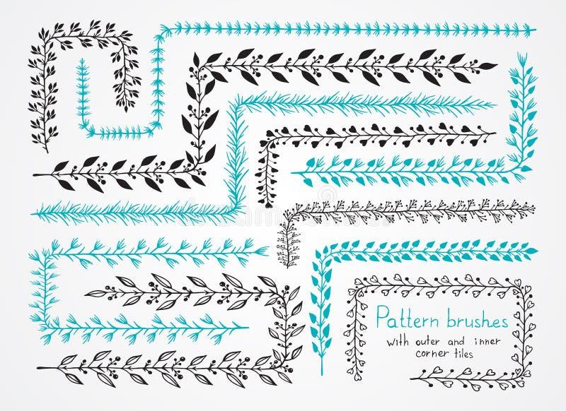Wektorowy ustawiający kwiecista ręka rysujący wzór szczotkuje z zewnętrznym i i ilustracji
