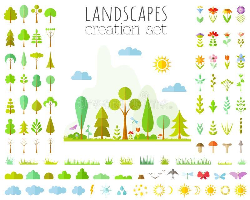 Wektorowy ustawiający lasowi elementy kształtuje teren konstruktora royalty ilustracja