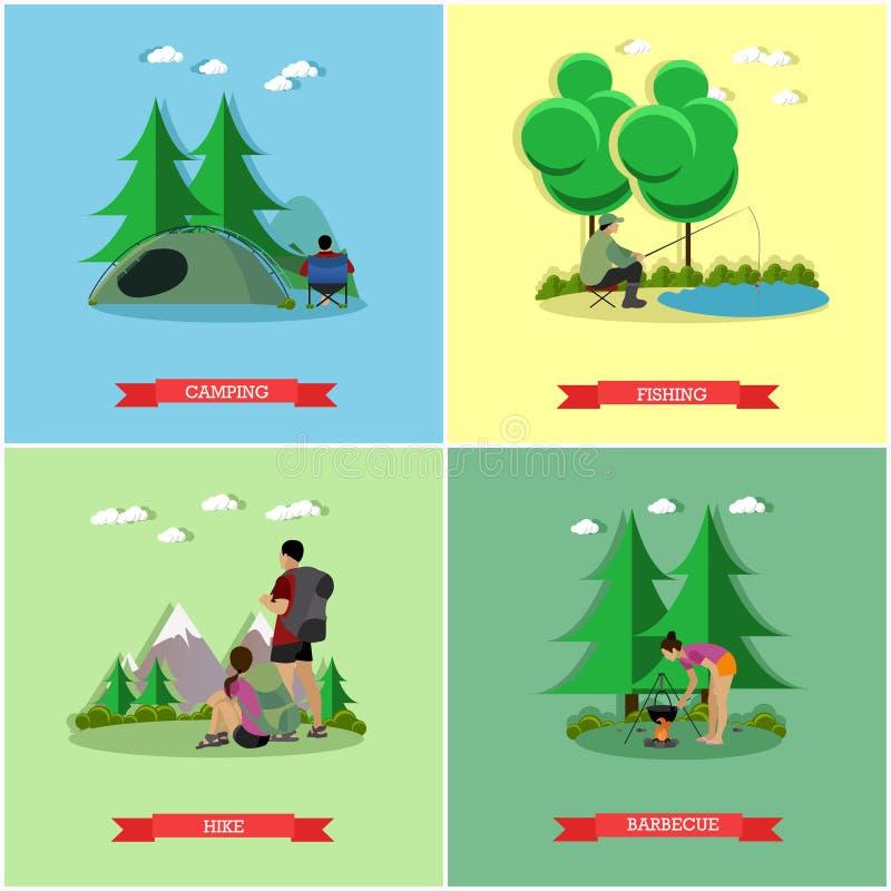 Wektorowy ustawiający lata pojęcia rekreacyjni sztandary w mieszkanie stylu Ludzie obozuje w parku, połów, wycieczkuje ilustracji