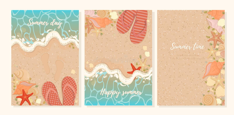 Wektorowy ustawiający lato pocztówki z rozgwiazd seashells gałęzatką na seashore i kapciami Lata tła piaskowata plaża z royalty ilustracja
