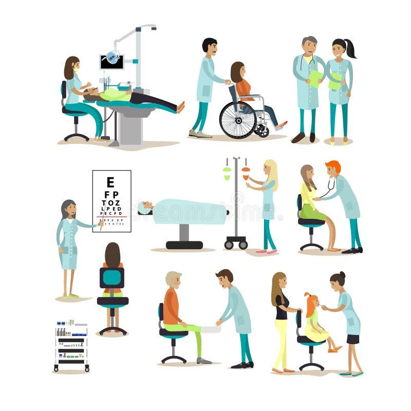 Wektorowy ustawiający lekarki i pacjentów charaktery na białym tle Ludzie w szpitalu ilustracji