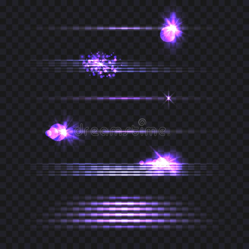 Wektorowy Ustawiający Lekkie linie Odizolowywać na Ciemnym Przejrzystym tle, Neonowi lampasy ilustracji