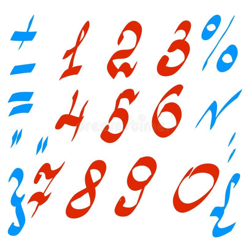 Wektorowy ustawiający liczby i matematycznie symbole ilustracji