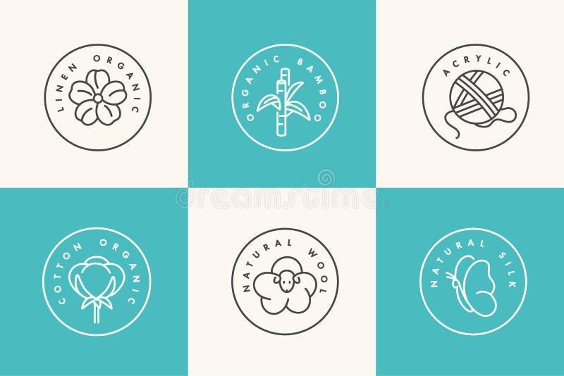 Wektorowy ustawiający liniowe ikony i odznaki dla naturalnej tkaniny Organicznie i życzliwa produkcja Inkasowy symbol ilustracji