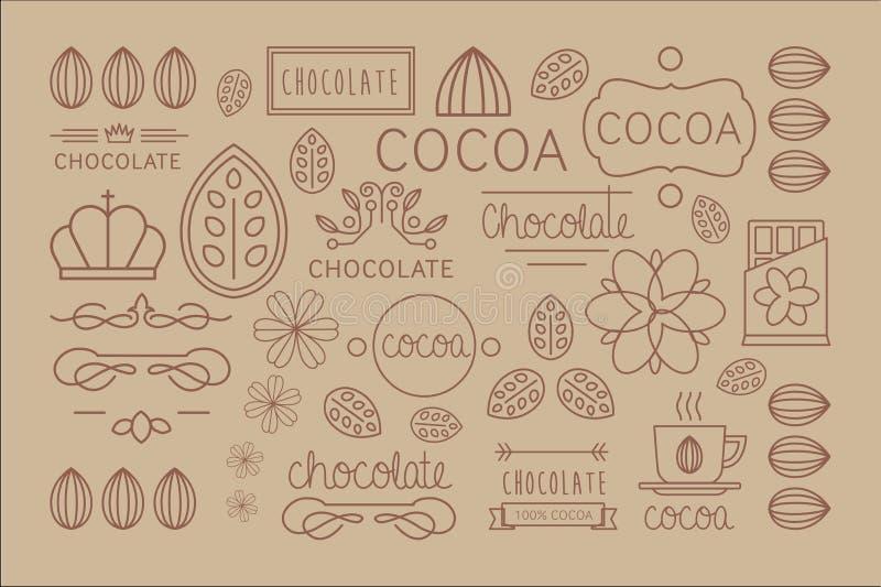 Wektorowy ustawiający liniowe kakaowe etykietki Oryginalni dekoracyjni elementy dla czekolady lub cukierku pakować Smakowity napó royalty ilustracja