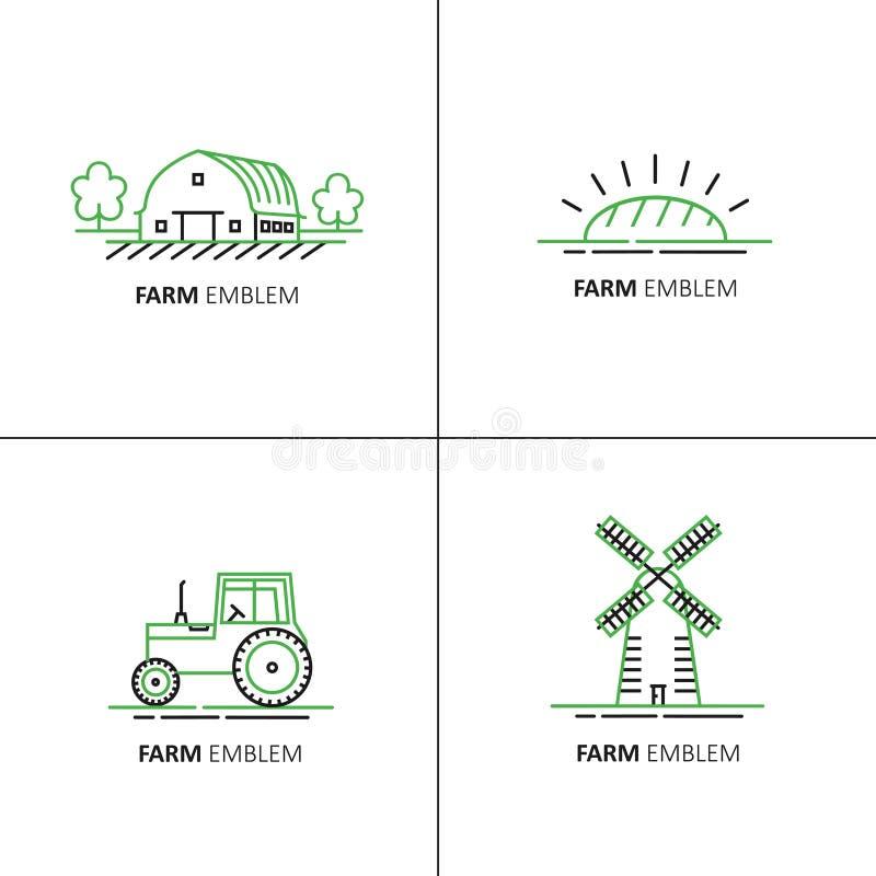 Wektorowy ustawiający loga projekta szablony w zielonym i czarnym liniowym stylu - rolni symbole ilustracji