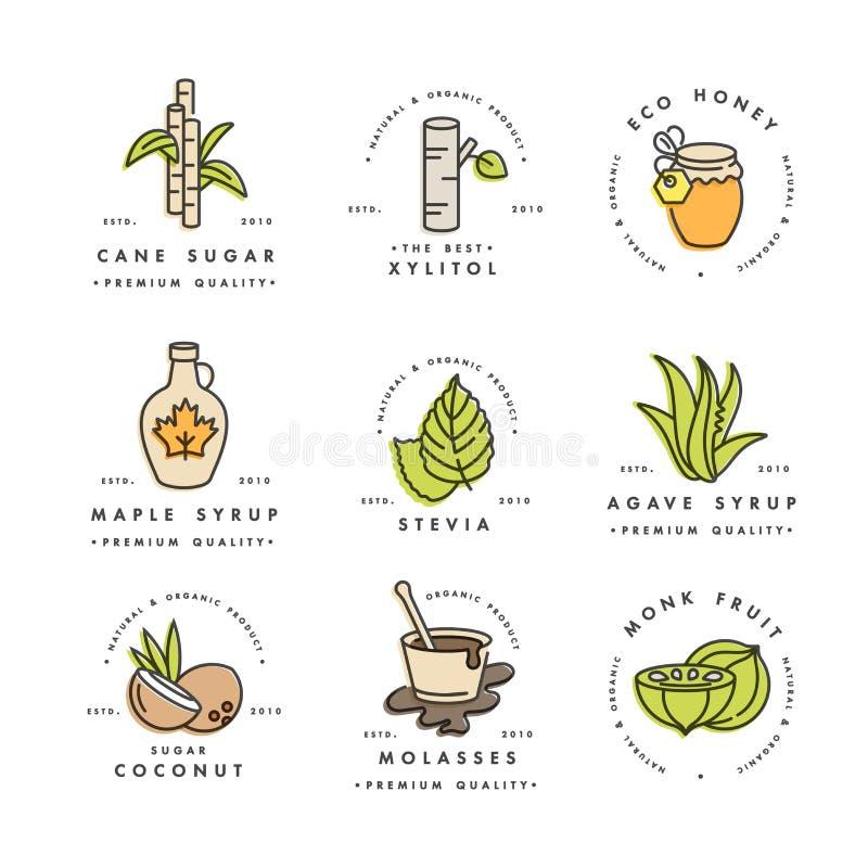 Wektorowy ustawiający logo, odznaki i ikony dla produktów, naturalnych i organicznie Inkasowy symbol zdrowi produkty i cukier ilustracji