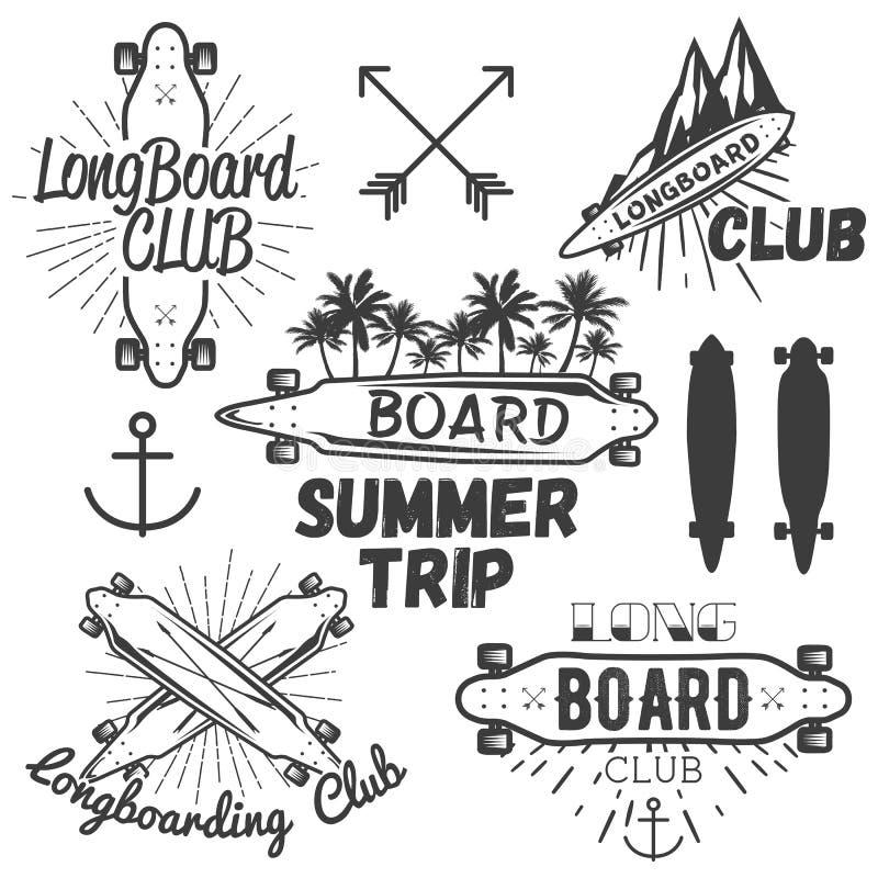 Wektorowy ustawiający longboard deskorolka emblematy, etykietki, odznaki Jeździć na deskorolce pojęcie ilustrację ilustracja wektor
