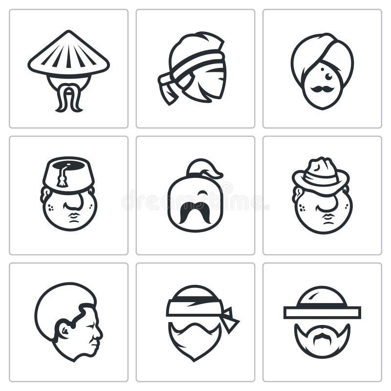 Wektorowy Ustawiający ludzie naród ikon ilustracja wektor
