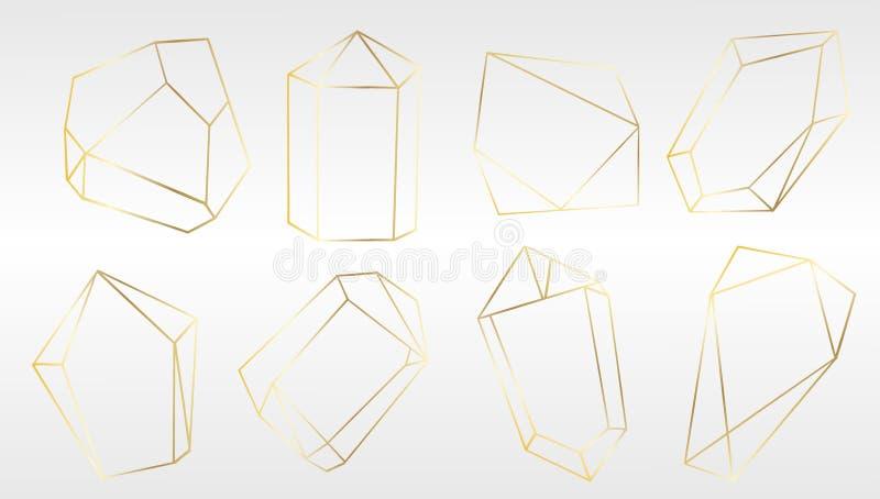 Wektorowy ustawiający luksusowi złoci kryształów kształty Odosobniony ilustracyjny element Odosobniony ilustracyjny element ilustracji