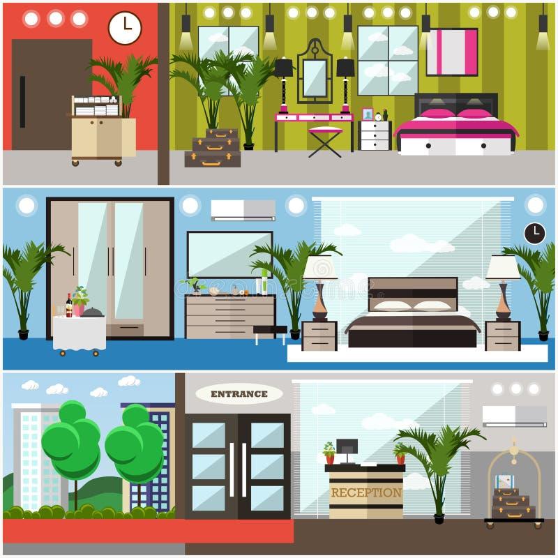 Wektorowy ustawiający luksusowych hoteli/lów wewnętrzni płascy plakaty, sztandary royalty ilustracja