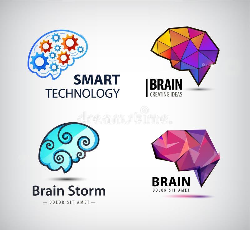 Wektorowy ustawiający mózg, technologia, brainstorm logo ilustracja wektor