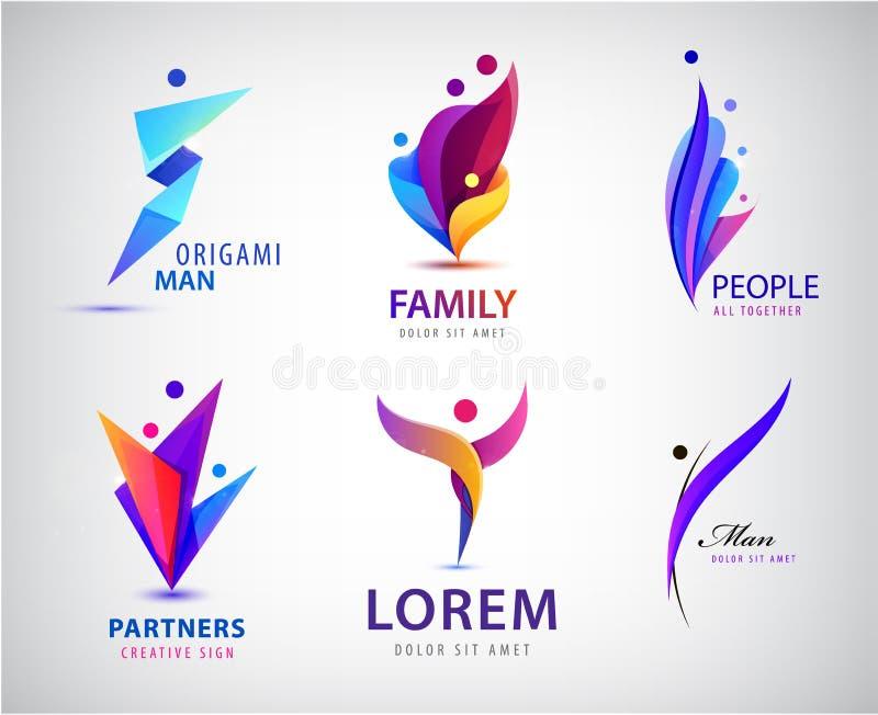Wektorowy ustawiający mężczyźni, ludzie grupuje, rodzinni logo Dziecko adopcji logo kolekcja i dobroczynne podstawy royalty ilustracja