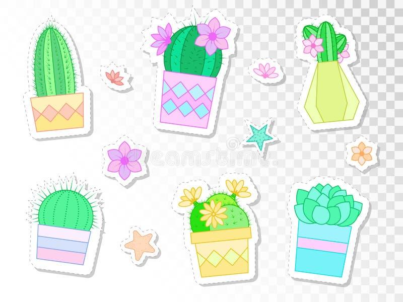 Wektorowy ustawiający majchery z kaktusami i sukulentami w kwiatów garnkach Mieszkanie styl ilustracja wektor