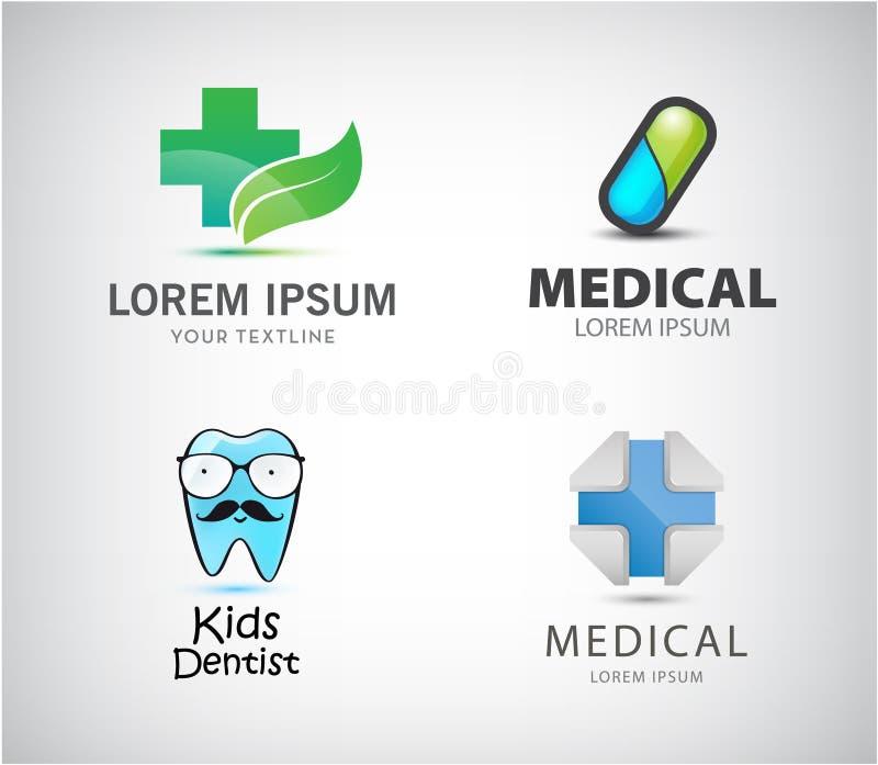 Wektorowy ustawiający medyczni logo Pigułki ikona, błękita krzyż, żartuje dentysty, apteka royalty ilustracja