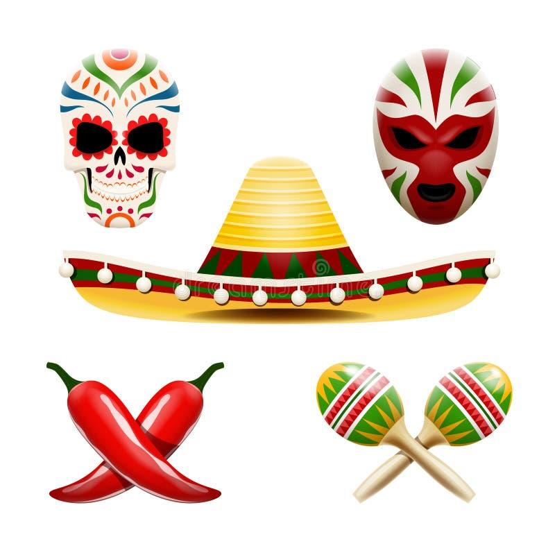 Wektorowy ustawiający meksykańscy symbole tak jak sombrero, marakasy, chili pieprze, cukrowy czaszki calavera i zapaśnik maska, ilustracja wektor