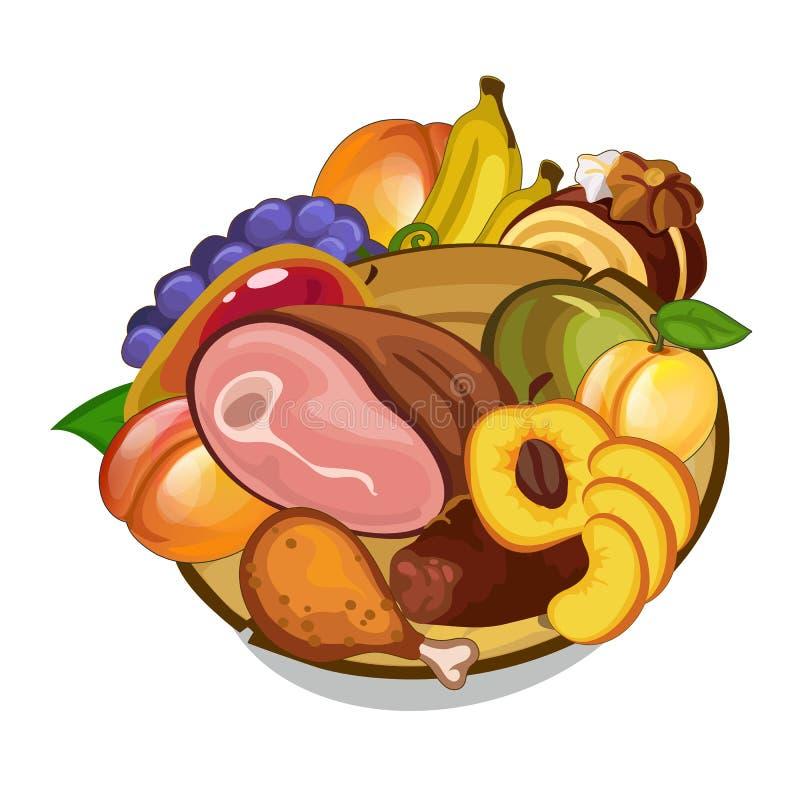 Wektorowy ustawiający mięso i owoc na talerzu ilustracja wektor