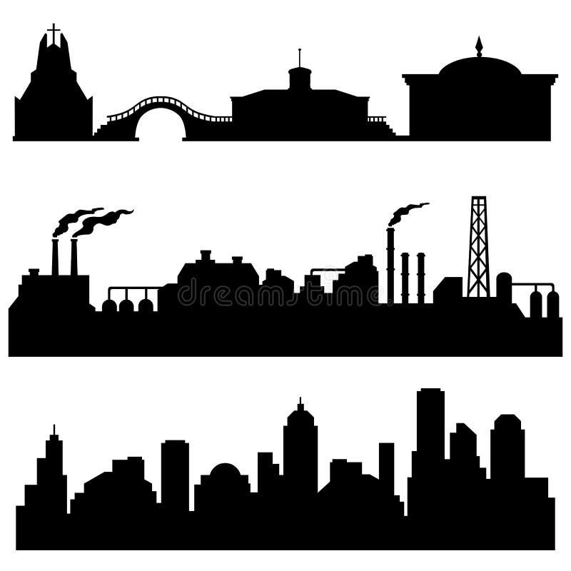 Wektorowy ustawiający miasto sylwetek, przemysłowych i miastowych budynki - kulturalnych, royalty ilustracja