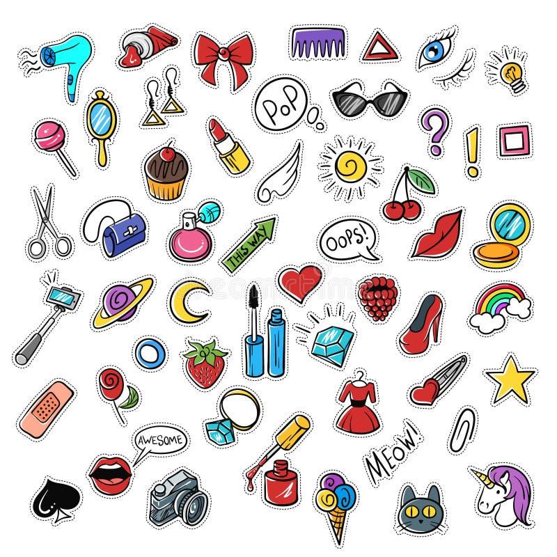 Wektorowy ustawiający modne łaty Nowożytny doodle wystrzału sztuki nakreślenie ilustracji