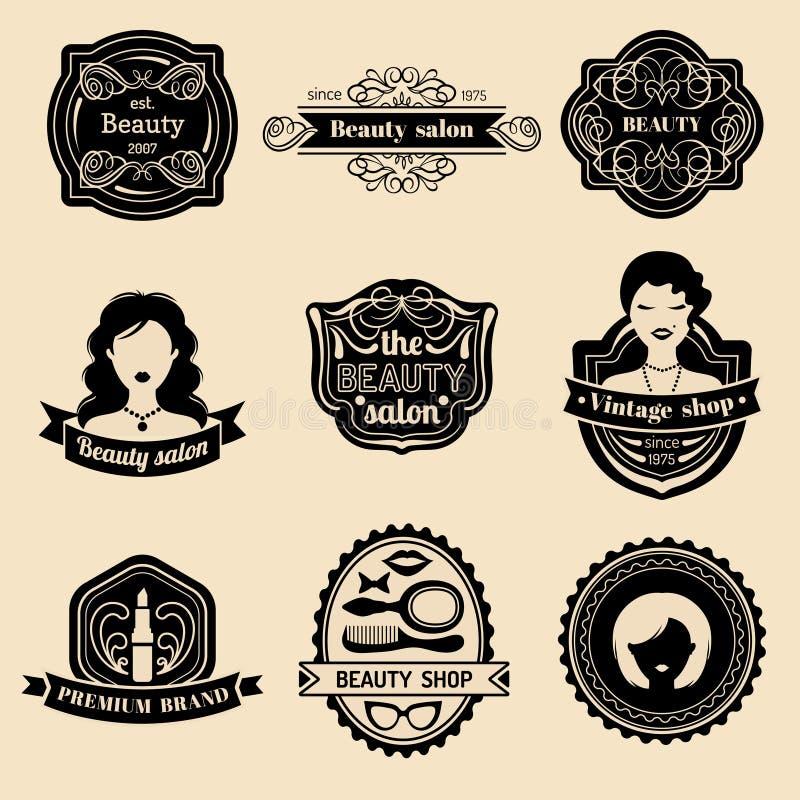 Wektorowy ustawiający modniś kobiety logo piękno salon lub rocznika sklep Retro ikony inkasowe w mieszkanie stylu royalty ilustracja